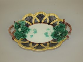 Wedgwood Majolica Wicker Grape Tray, 12""
