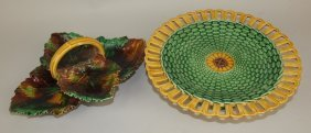 Wedgwood Majolica Maple Leaf 4 Part Server And Wicker