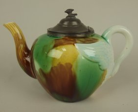 Majolica Mottled Teapot With Swan Handle And Pewter Lid