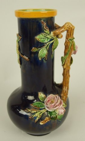 Minton Majolica Cobalt Pitcher With Roses And Vine