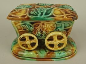 Majolica Figural 4 Wheeled Cart Match Holder With