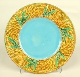 "George Jones Majolica Basket Weave And Bamboo 9"" Plate,"
