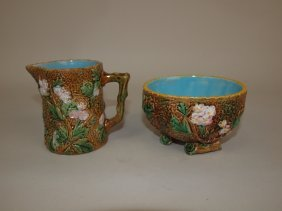 George Jones Rustic Majolica Cream & Sugar