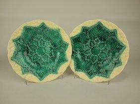 """Wedgwood Majolica Pair Of Cauliflower Plates, 9"""""""
