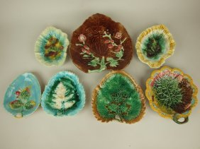 Majolica Lot Of 7 Leaf Trays, Various Conditions