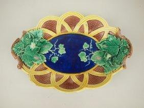 Wedgwood Majolica Wicker Grape Tray With Cobalt Center,