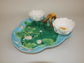 George Jones Majolica Turquoise Pond Lily Strawberry