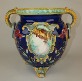 Majolica Cobalt Footed Jardenaire With Cameo Of Lady On