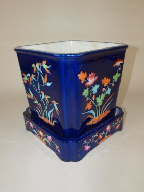 """New Stone Majolica Cobalt Cache Pot And Stand, 10""""h, 9"""