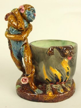 Thomas Sergent Majolica Figural Of Monkey With Witches