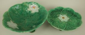 """Holdcroft Majolica Pond Lily Bowl 11"""" And Pond Lily"""