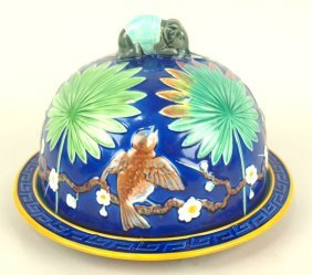 Wedgwood Majolica Jumbo Cheese Keeper With Cobalt
