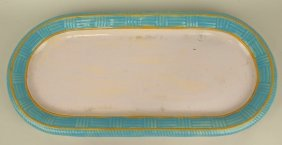 "Minton Majolica Large Turquoise Basket Weave Tray 25"" X"