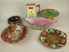 Majolica Lot Of 6 Pieces: 3 Bowls, Compote, Pitcher