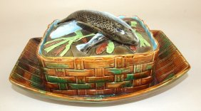 George Jones Majolica Boat & Basket Sardine Box,