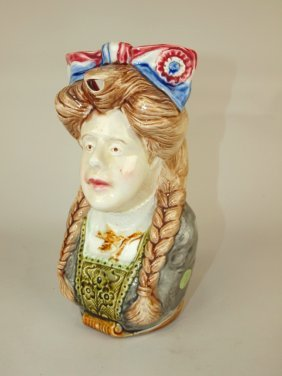 """Onnaing French Majolica Figural Lady Pitcher, 9 1/2"""""""