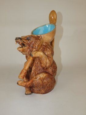 Holdcroft Majolica Honey Bear Figural Pitcher,
