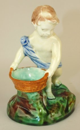 Wedgwood Majolica Putti With Basket Figural Salt,