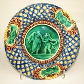 Palissy Ware Majolica Plate With Scenic Center And