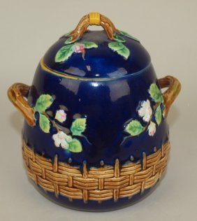 George Jones Majolica Cobalt Apple Blossom And Basket