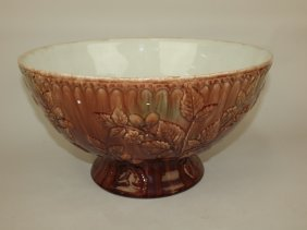 Majolica Large Punch Bowl With Berries And Vine In