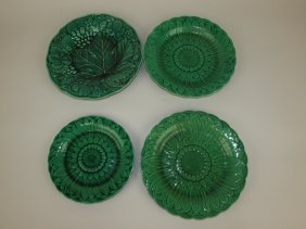 Majolica Lot Of 4 Dark Green Plates: 3 Signed Wedgwood,