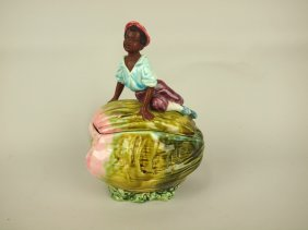 Majolica Blackamoor On Melon Figural Humidor, 9 1/2""