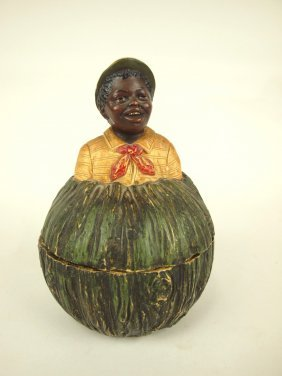 "Terra Cotta Blackmoor Man In Melon Figural Humidor, 7"","