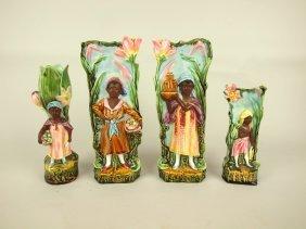 Majolica Blackmoor Lot Of 4 Figural Vases, Various