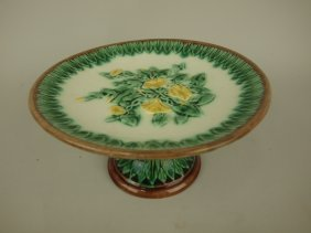 Etruscan Majolica Morning Glory Cake Stand