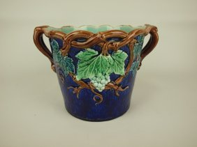 "Cobalt Majolica Jardiniere With Grapes And Vine, 11"" W,"