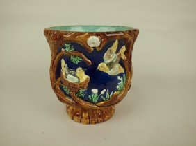 Majolica Jardiniere With Cobalt Ground And Birds, Rim