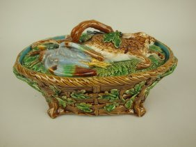 Minton Majolica Game Dish With Rabbit And Game Birds On