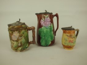 Majolica Lot Of 3 Pewter Top Syrup Pitchers, Various