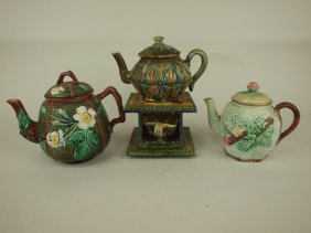 Majolica Lot Of 3 Teapots, Various Conditions