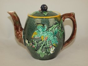 Majolica Blackberry Teapot, 5 1/2""