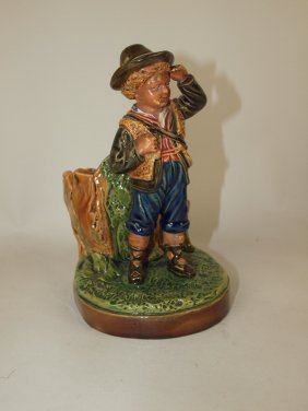 Majolica Figural Match Striker With Boy