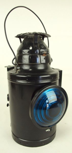 Handlan Railroad Lantern With Blue Lens, Nyc & Stl