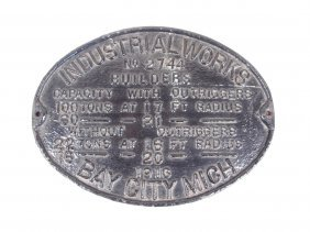 """Iron Builders Plate """"industrial Works"""" No 2744, Bay"""