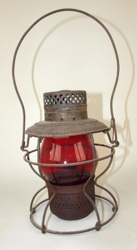 Handlan Railroad Lantern With Tall Red Globe, Lantern