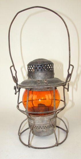 Adams & Westlake Railroad Lantern With Short Amber