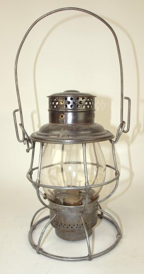 Rare Adlake Railroad Lantern With Tall Clear Globe