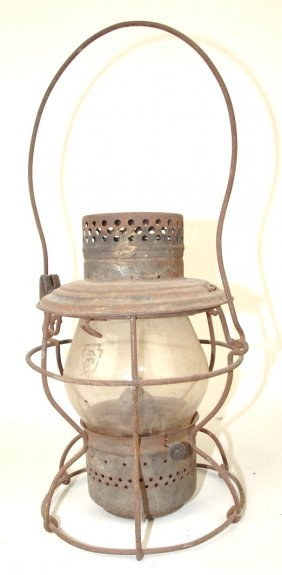 Handlan Railroad Lantern With Short Clear Globe, Etched