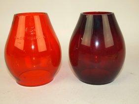 Two Tall Railroad Lantern Globes: Amber & Red