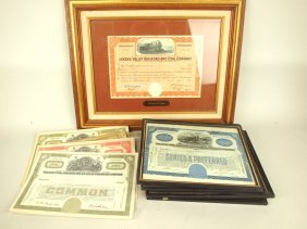 Lot Of Railroad Stock Certificates, Some Framed, 17