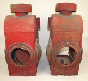 Pair Of Railroad Caboose Lights, Missing Some Lenses,