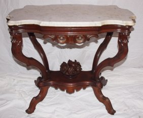 Walnut Victorian Turtle Marble Top Parlor Table With