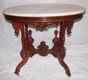Walnut Victorian Oval Marble Top Parlor Table