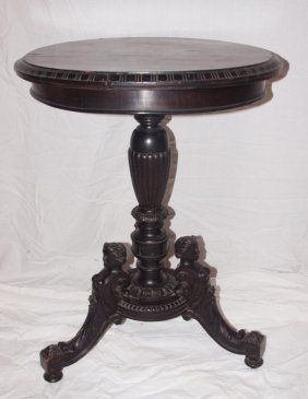 """Wooden Lamp Table With Carved Ladies On Base 22""""d"""