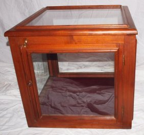 "Walnut Countertop Display Case 21"" Square"
